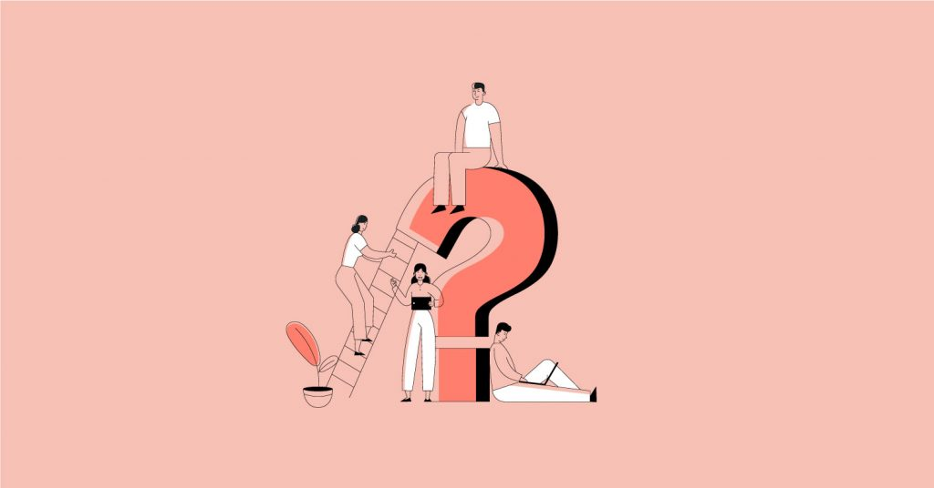 Blog post feature image illustration of three millenials around a large question mark